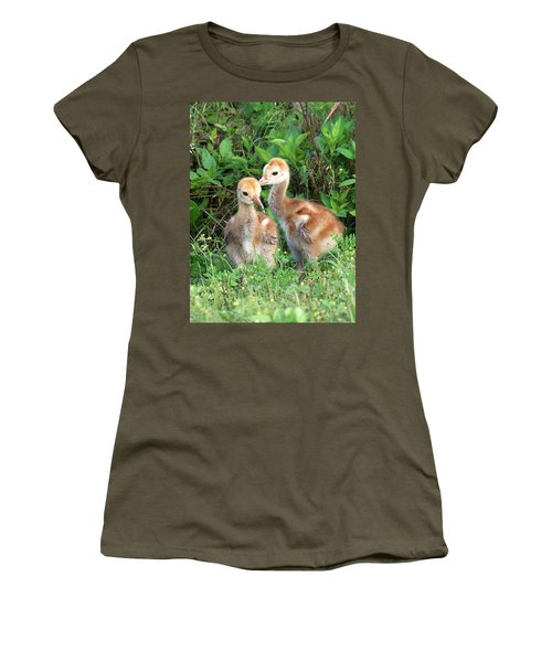 Sandhill Crane Chicks 001 Women's T-Shirt (Athletic Fit)