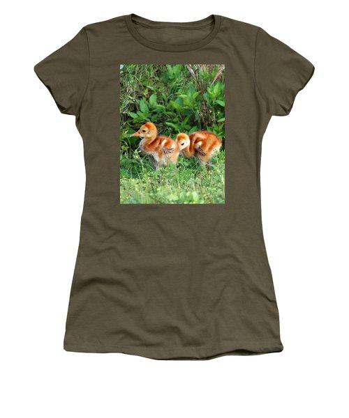 Women's T-Shirt (Junior Cut) featuring the photograph Sandhill Crane Chicks 002 by Chris Mercer
