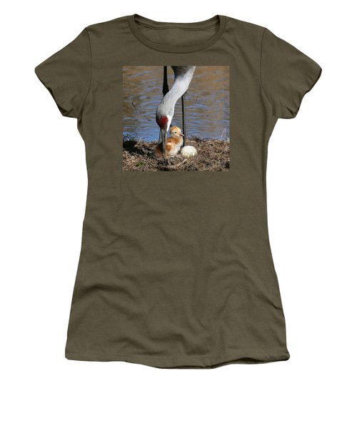 Sandhill Crane New Family Women's T-Shirt (Junior Cut) by Myrna Bradshaw