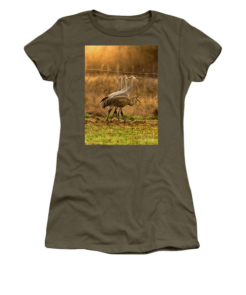 Women's T-Shirt (Junior Cut) featuring the photograph Sandhill Cranes Texas Fence-line by Robert Frederick