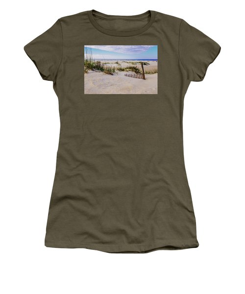 Women's T-Shirt (Junior Cut) featuring the photograph Sand  Fences On The Bogue Banks 2 by John Harding