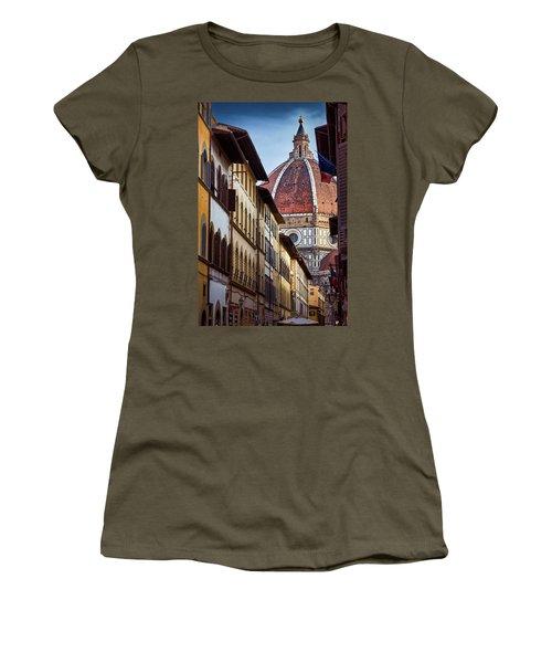 Santa Maria Del Fiore From Via Dei Servi Street In Florence, Italy Women's T-Shirt