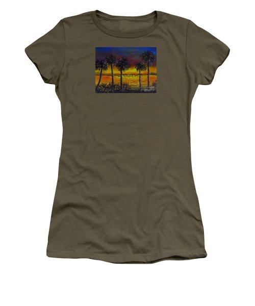 Women's T-Shirt (Junior Cut) featuring the painting Sarasota Bayfront Sunset by Lou Ann Bagnall