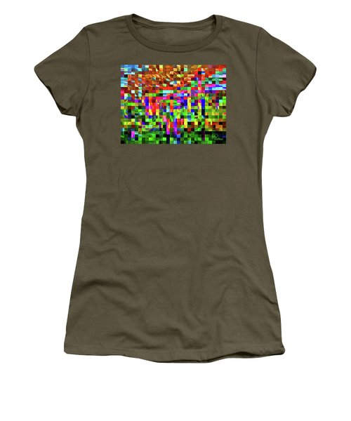 Women's T-Shirt featuring the digital art Satin Tiles by Ludwig Keck