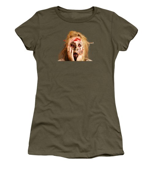 Scared Halloween Monster With Nail Through Head Women's T-Shirt