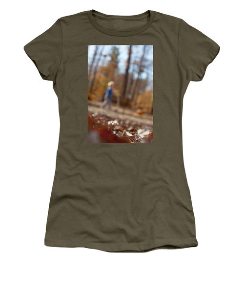 Women's T-Shirt (Athletic Fit) featuring the photograph Scootering At The Park by Greg Collins