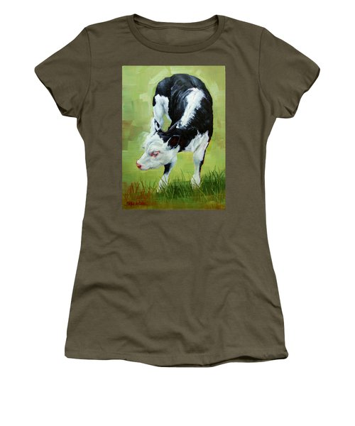 Women's T-Shirt (Junior Cut) featuring the painting Scratching Calf by Margaret Stockdale