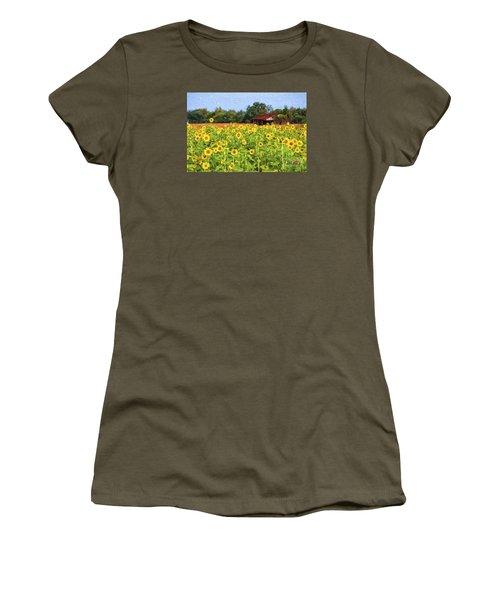 Sea Of Sunflowers Women's T-Shirt (Junior Cut) by Bonnie Barry