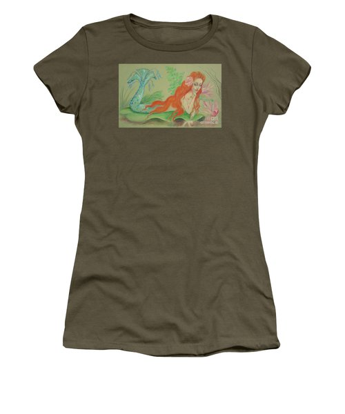 Sea Siren, Resting -- Whimsical Mermaid Drawing Women's T-Shirt (Athletic Fit)