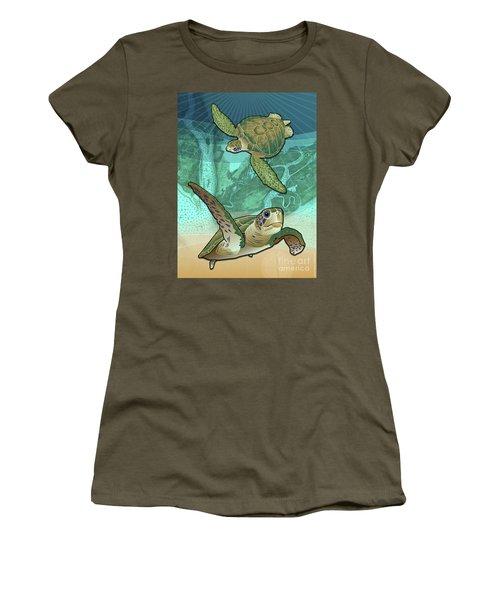 Sea Turtles Near Beaufort, Sc Women's T-Shirt (Athletic Fit)