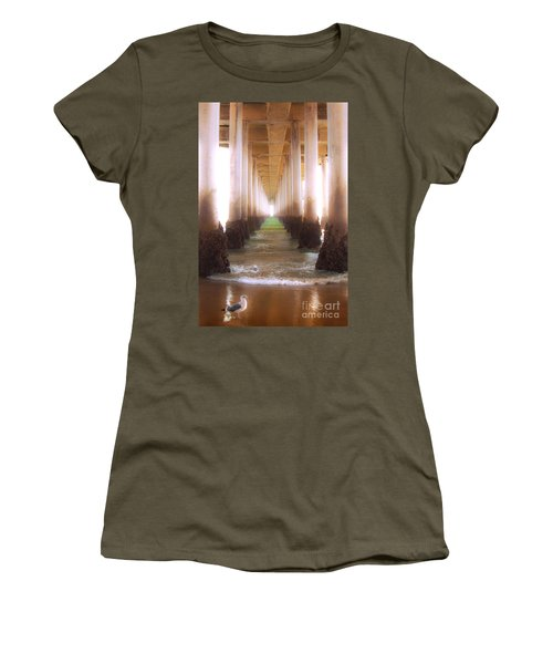 Women's T-Shirt (Junior Cut) featuring the photograph Seagull Under The Pier by Jerry Cowart