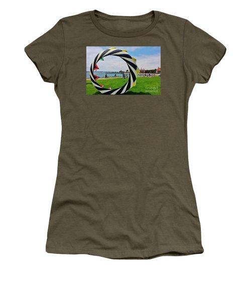 Women's T-Shirt (Junior Cut) featuring the photograph Seaport Villagethrough My Lens by Jasna Gopic