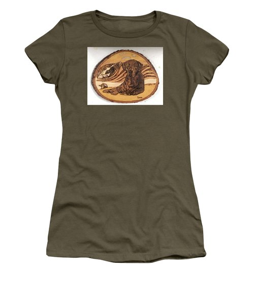 Women's T-Shirt (Athletic Fit) featuring the pyrography Seaside Sam by Denise Tomasura