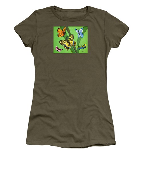 Women's T-Shirt (Junior Cut) featuring the painting Season Of Butterflies by Donna Blossom