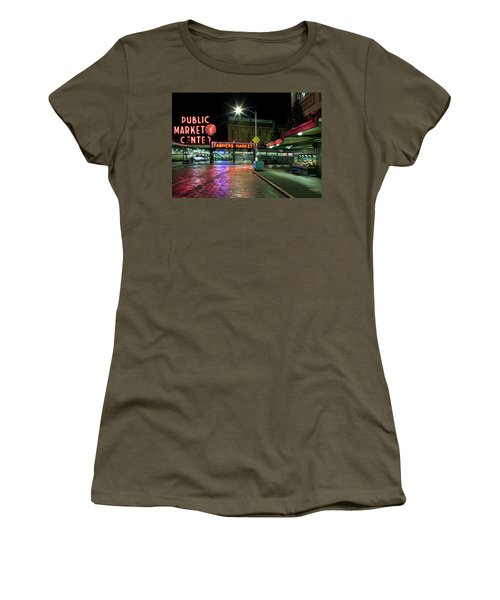 Seattle Public Market 1 Women's T-Shirt (Athletic Fit)