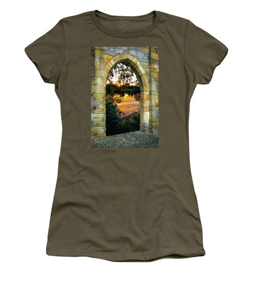 Women's T-Shirt (Athletic Fit) featuring the photograph Setting Sun On Ireland's Shannon River by James Truett