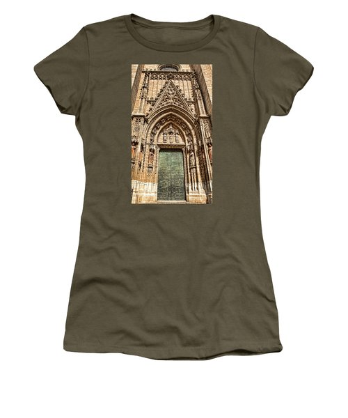 Women's T-Shirt featuring the photograph Seville Cathedral Door, Spain by Tatiana Travelways