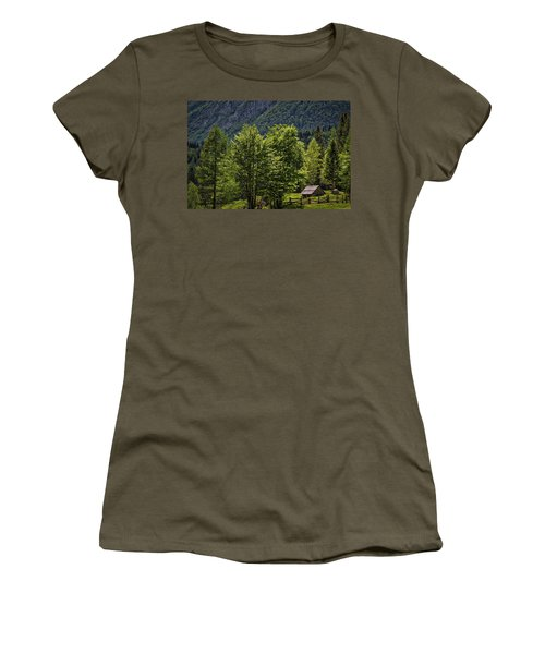Women's T-Shirt (Athletic Fit) featuring the photograph Shed In The Slovenian Alps by Stuart Litoff