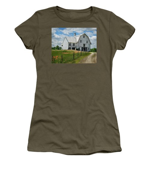 Sheep By The White Barn Women's T-Shirt