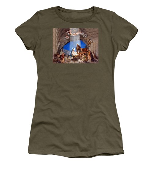 Shepherds Field Nativity Painting Women's T-Shirt (Athletic Fit)