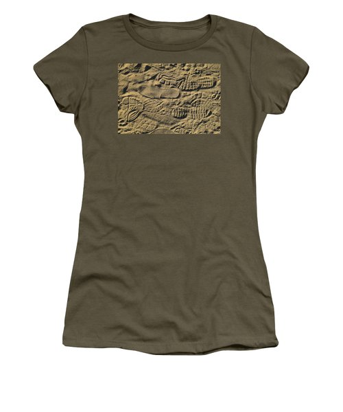 Women's T-Shirt (Junior Cut) featuring the photograph Shoe Prints by R  Allen Swezey