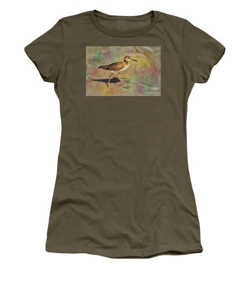 Women's T-Shirt (Junior Cut) featuring the painting Shore Bird Beauty by Deborah Benoit