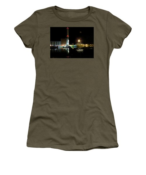 Shoreham Power Station Night Reflection 2 Women's T-Shirt (Junior Cut) by John Topman