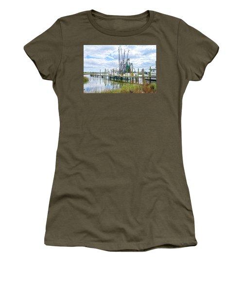 Shrimp Boats Of St. Helena Island Women's T-Shirt (Junior Cut) by Scott Hansen