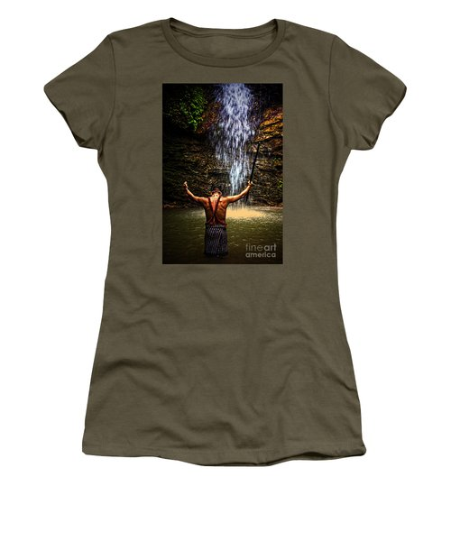 Women's T-Shirt (Junior Cut) featuring the photograph Shuar Shaman At Sucua Ecuador by Al Bourassa