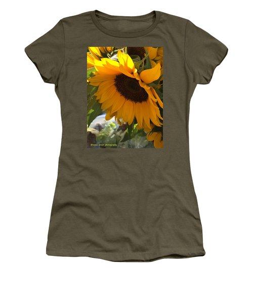 Shy Sunflower Women's T-Shirt (Junior Cut) by Nance Larson