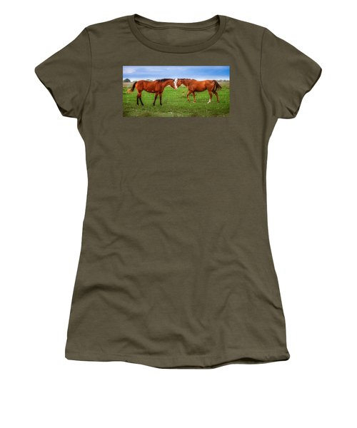 Women's T-Shirt featuring the photograph Side By Side by Melinda Ledsome