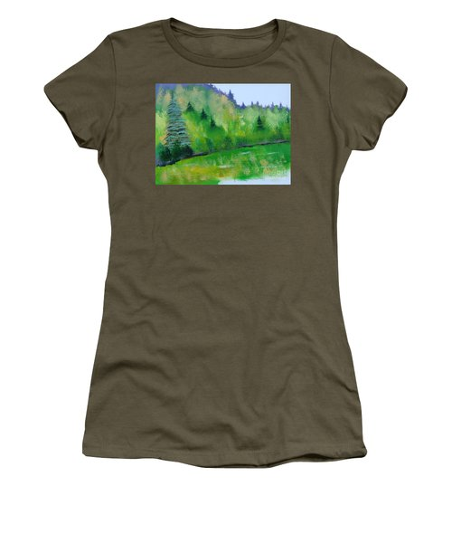 Women's T-Shirt (Junior Cut) featuring the painting Simply Green by Rod Jellison