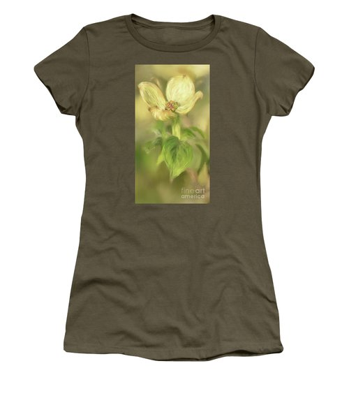 Women's T-Shirt (Junior Cut) featuring the digital art Single Dogwood Blossom In Evening Light by Lois Bryan