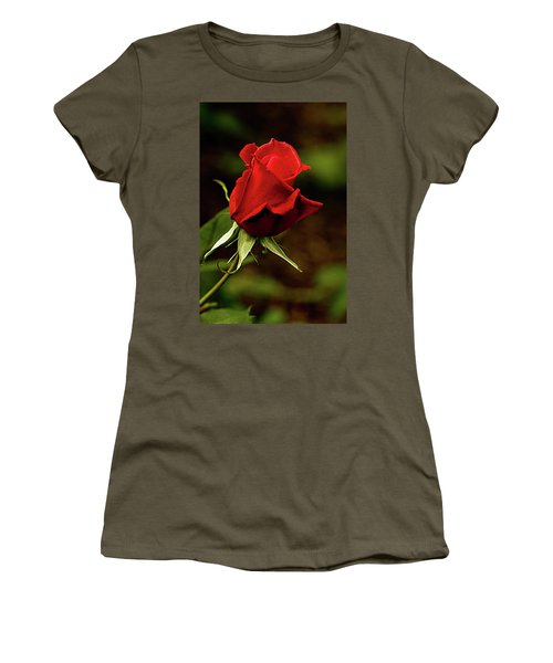 Single Red Rose Bud Women's T-Shirt (Junior Cut) by Jacqi Elmslie