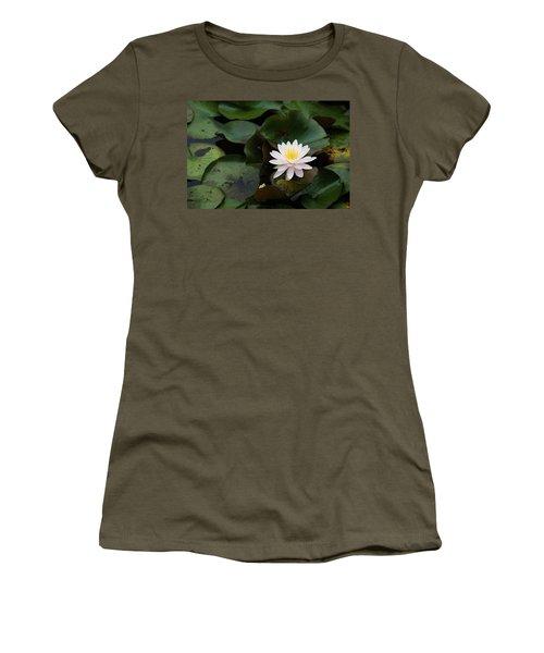 Single White Pristine Lotus Lily Women's T-Shirt