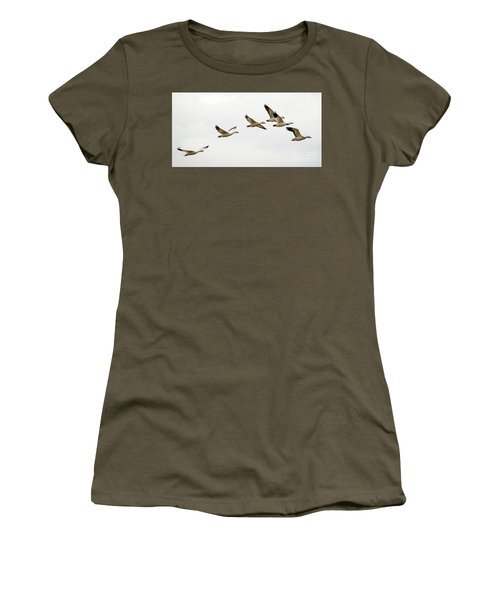 Women's T-Shirt (Junior Cut) featuring the photograph Six Snowgeese Flying by Mike Dawson