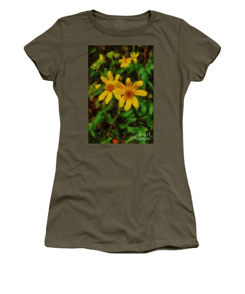 Sixteen Petals  Two Yellow Wildflowers Women's T-Shirt (Athletic Fit)