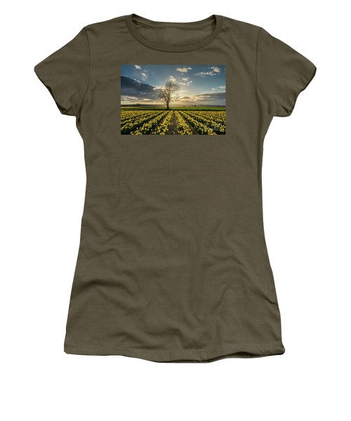 Women's T-Shirt (Junior Cut) featuring the photograph Skagit Daffodils Lone Tree  by Mike Reid
