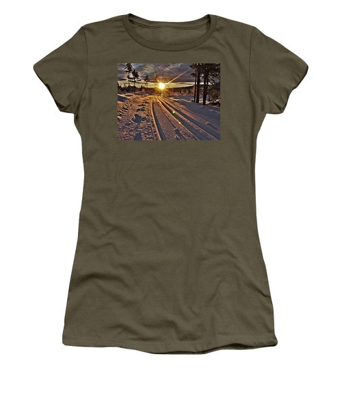 Ski Trails With Sun Beams Women's T-Shirt (Athletic Fit)