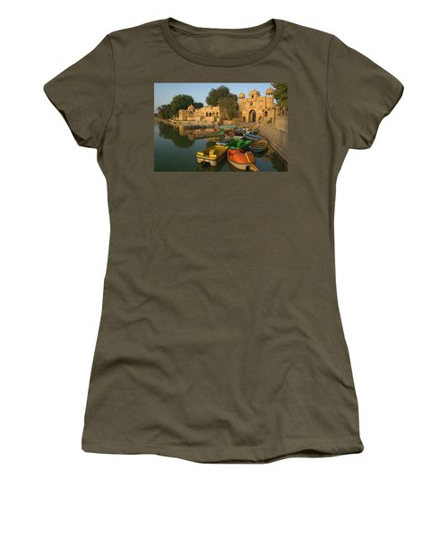 Skn 1391 A Visit To Gadisar Lake Women's T-Shirt (Junior Cut) by Sunil Kapadia