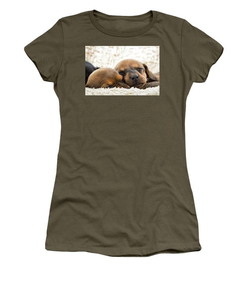 Women's T-Shirt (Athletic Fit) featuring the photograph Sleeping Dachshund Puppies by SR Green