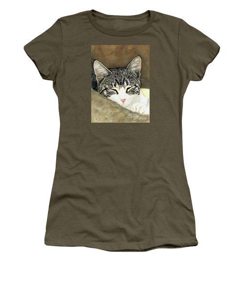 Sleeping Mia Women's T-Shirt (Junior Cut) by Shari Nees