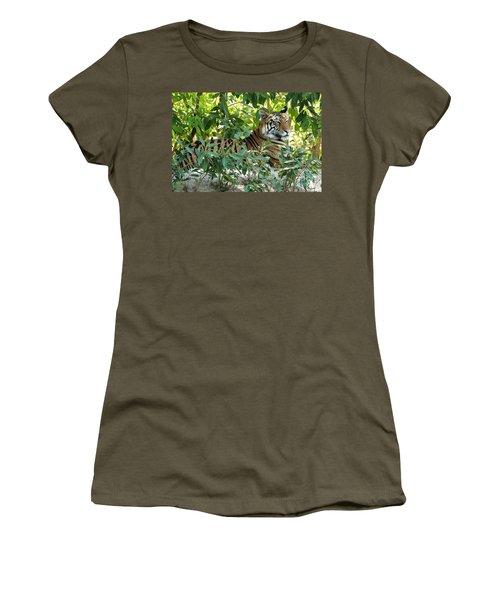 Sleepy Cat Women's T-Shirt (Junior Cut) by Pravine Chester