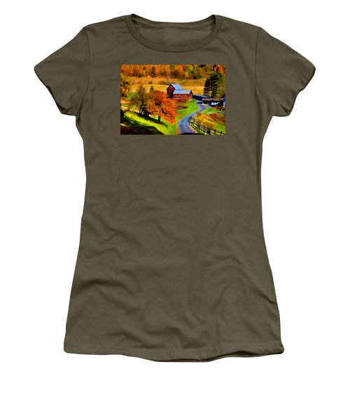 Women's T-Shirt featuring the photograph Digital Painting Of Sleepy Hollow Farm by Jeff Folger