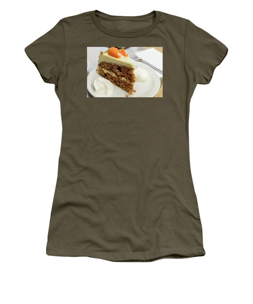 Women's T-Shirt featuring the photograph Slice Of Carrot Cake With Cream A by Jacek Wojnarowski