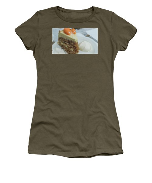 Women's T-Shirt featuring the photograph Slice Of Carrot Cake With Cream B by Jacek Wojnarowski
