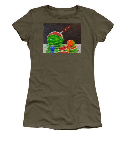 Sliced Melon Women's T-Shirt (Junior Cut) by Melvin Turner