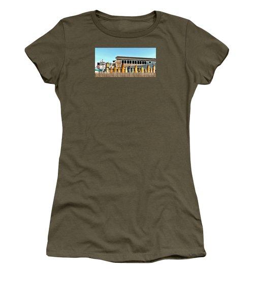 Sloppy Tuna Restaurant, Montauk Long Island Women's T-Shirt (Junior Cut) by Joan  Minchak