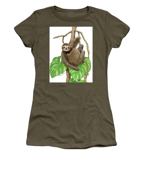 Sloth Hanging Around Women's T-Shirt (Junior Cut) by Thomas J Herring