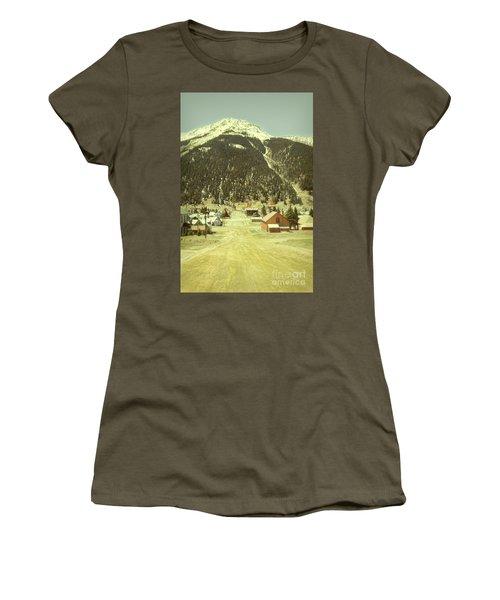 Women's T-Shirt (Junior Cut) featuring the photograph Small Rocky Mountain Town by Jill Battaglia